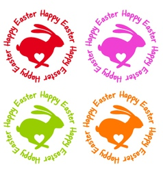 Happy Easter bunny with heart vector image vector image