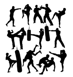 karate judo and boxing silhouettes vector image