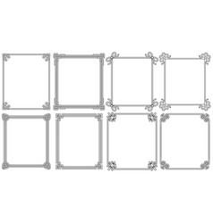 Ornamental corners different style vintage set vector