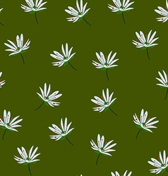 White flower green background vector image vector image