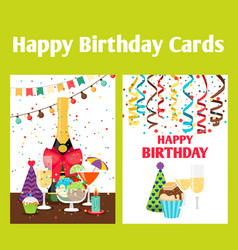 birthday cards with champagne and ribbons vector image vector image