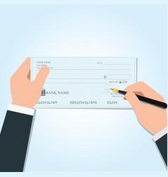businessman writing a payment bank checks vector image