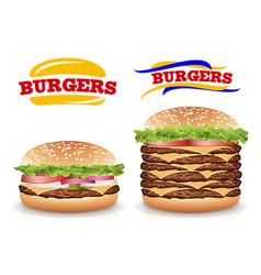 fast food realistic burger set beautiful vector image vector image