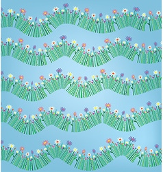 Grass and flower funny pattern background vector image