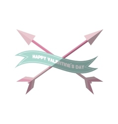 happy valentines day card pink heart arrows vector image vector image