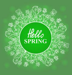 Hello spring flower frame vector