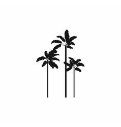 Three palm plant trees icon simple style vector