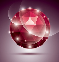 Abstract 3D ruby gala sphere with gemstone effect vector image vector image