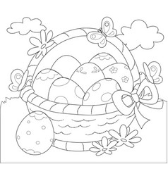 basket of easter eggs coloring vector image vector image