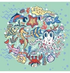 Cartoon Funny Fish Sea Life circle background vector image