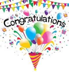 Congratulations party on a white background vector image vector image
