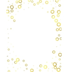 Gold glittering foil hexagons on white background vector image