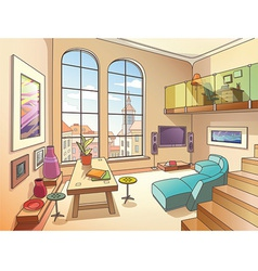 Light Living Room with a Mezzanine vector image