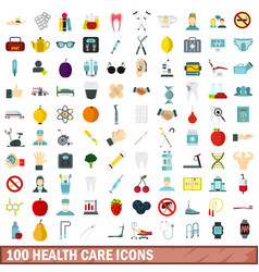 100 health care icons set flat style vector image