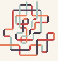 Abstract colorful geometric isometric line art vector