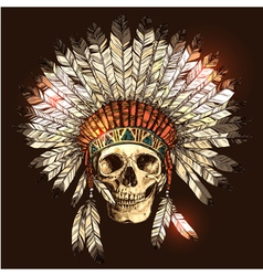 american indian headdress with skull vector image