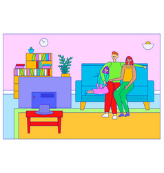 Amiable family sitting cozy soft couch watching tv vector