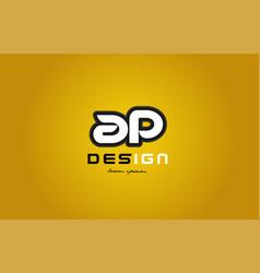 ap a p alphabet letter combination digit white on vector image vector image