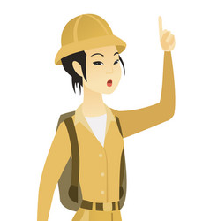 Asian traveler with open mouth pointing finger up vector