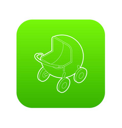 baby carriage icon green vector image
