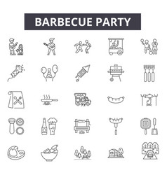 barbecue party line icons signs set vector image