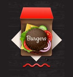 big cheeseburger with black vector image