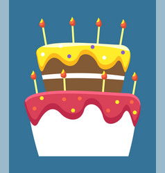 Birthday cake with lit candles celebration party vector