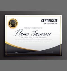 Black certificate of appreciation template vector
