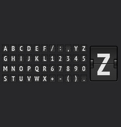 Black score board abc regular font with numbers vector
