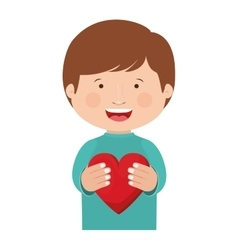 Boy with heart icon vector