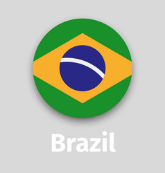 brazil flag round icon with shadow vector image