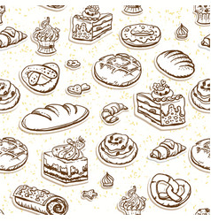 bread and pastry seamless pattern in brown color vector image