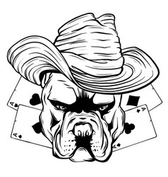 Bulldog head hat poker ace vector