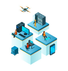 business team isometric coworking people managers vector image