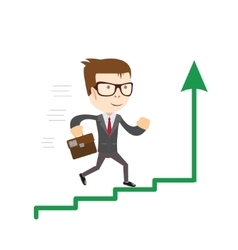 Businessman standing on chart going up Concept of vector