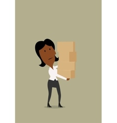 Businesswoman carrying a stack boxes vector
