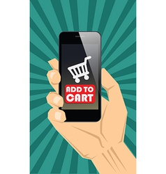 Buy with smartphone vector