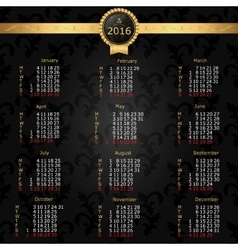Calendar 2016 English Vintage background with vector