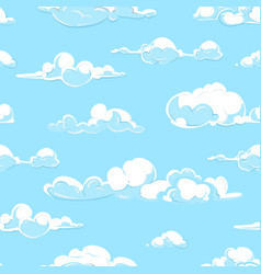 cartoon clouds weather seamless pattern vector image