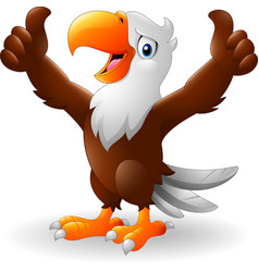 cartoon eagle giving two thumbs up vector image