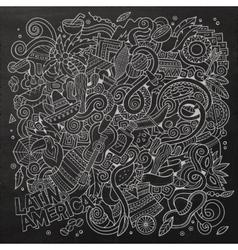 Cartoon hand-drawn doodles Latin American vector