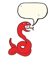 Cartoon hissing snake with speech bubble vector