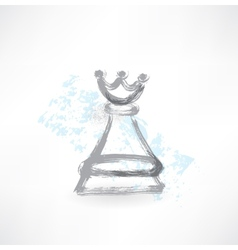 chess Queen grunge icon vector image