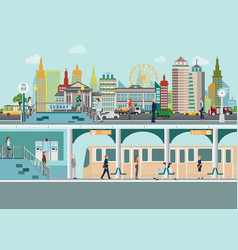 Cityscape with subway train station platform vector