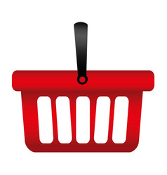 colorful silhouette with shopping basket with one vector image