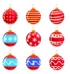 colorfull christmas balls with ornaments vector image
