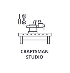 craftsman studio line icon sign vector image