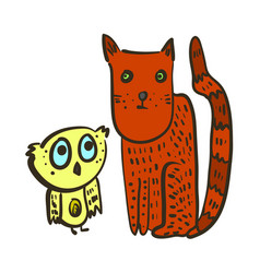 Cute with confused owl and red cat vector