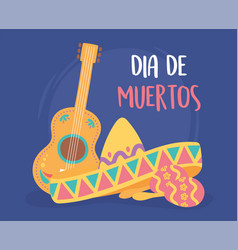 day dead mexican celebration hat guitar vector image