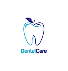 dental teeth with apple shape logo sign symbol vector image